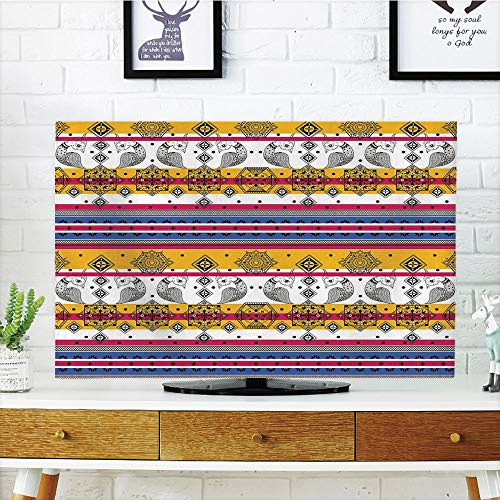 LCD TV dust Cover Customizable,Tribal,Colored Ethnic with Pa