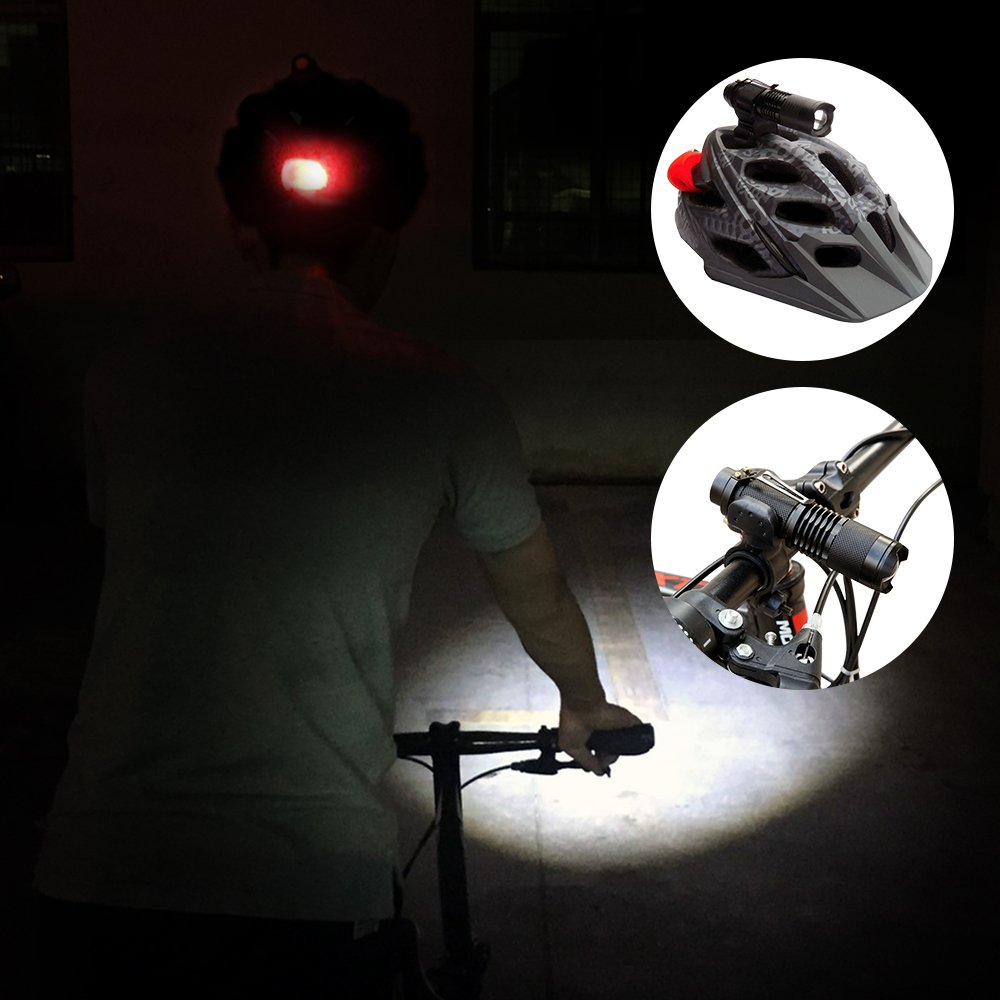 Maketheone Bike Bicycle Front Light Headlight-Taillight Combination Rechargeable Cycle Helmet Light Head Torch Kit Bright Flashlight+Rear Light+18650 Battery+Universal Charger+Helmet Mount+Bike Mount by Maketheone (Image #2)
