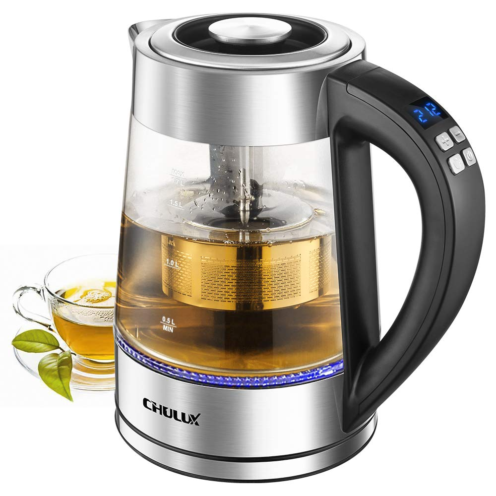 CHULUX 1.7L Electric Glass Kettle,Variable Temperature Hot Water Boiler with Removable Tea Filter,7 Colors LED Indicator Fast Heating Boiler for Tea, Coffee, Milk,Keep Warm & Auto Shut-Off, 1200W by CHULUX