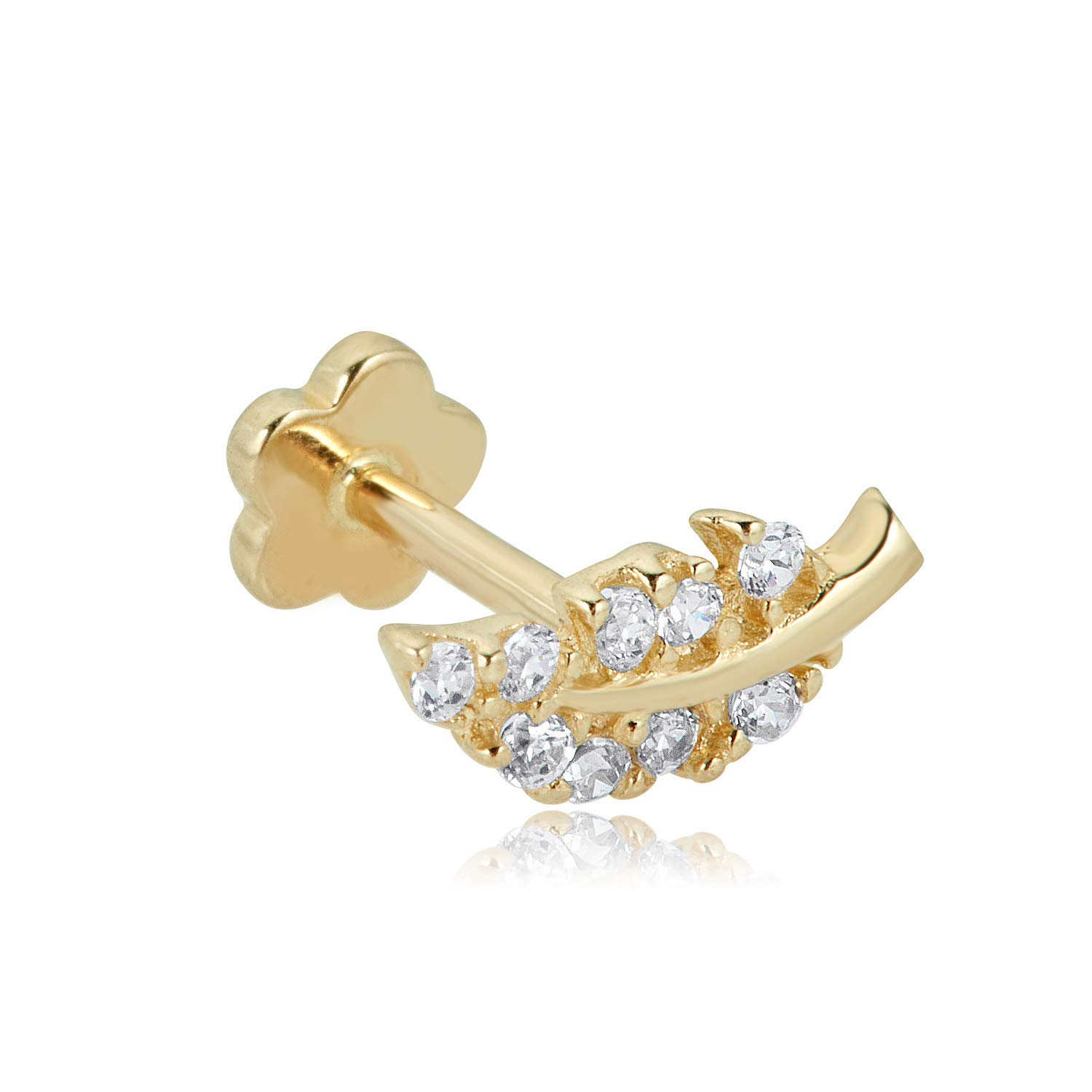 14K Yellow Gold Simulated Diamond CZ Leaf Cartilage Barbell Body Jewelry -019 Gauge