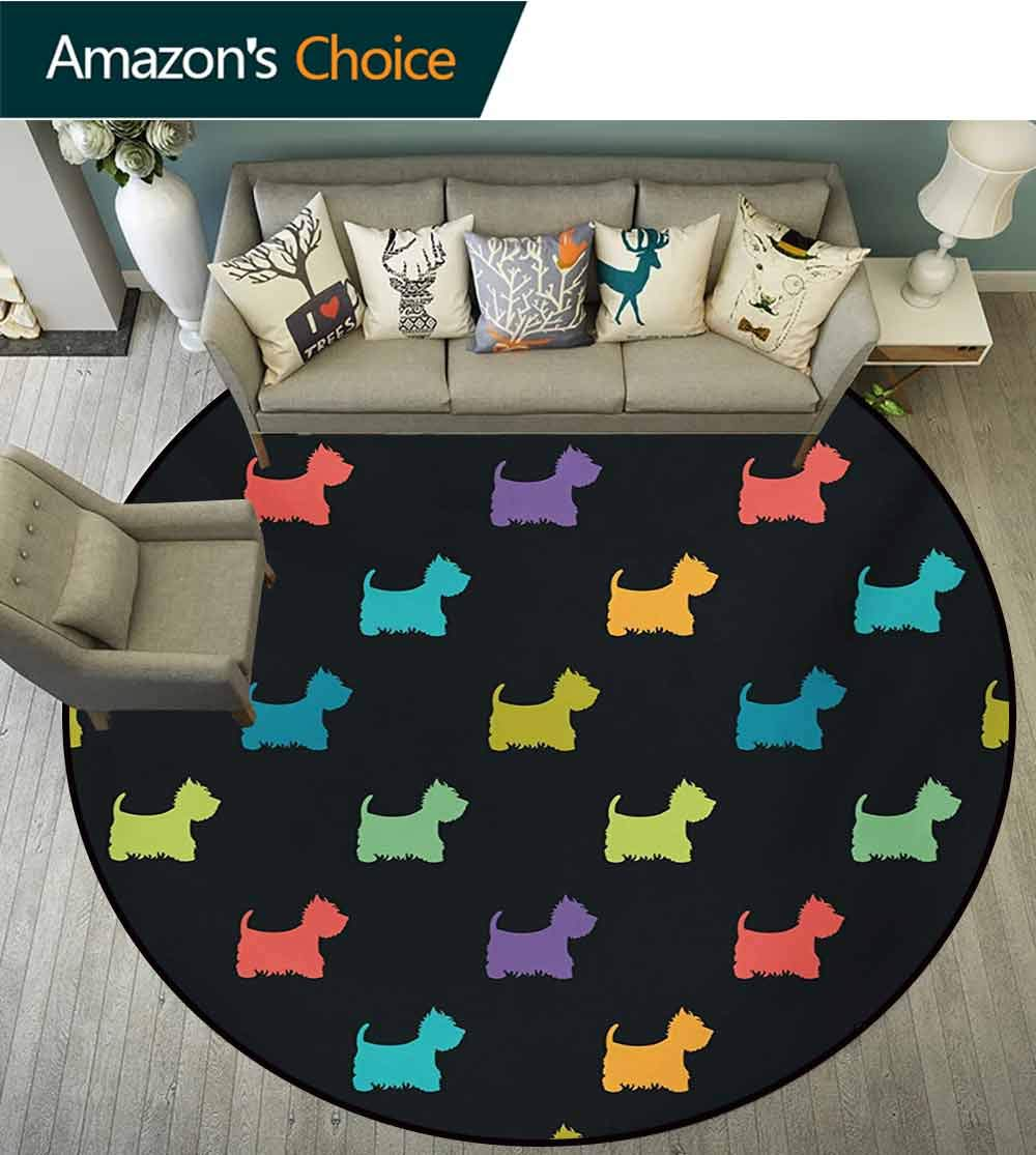 RUGSMAT Dog Lover Dining Room Home Bedroom Carpet Floor Mat,Colorful Dog Silhouettes West Highland Terriers Canine Cartoon Style Animal Fun Non Slip Rug,Diameter-71 Inch Multicolor by RUGSMAT (Image #3)
