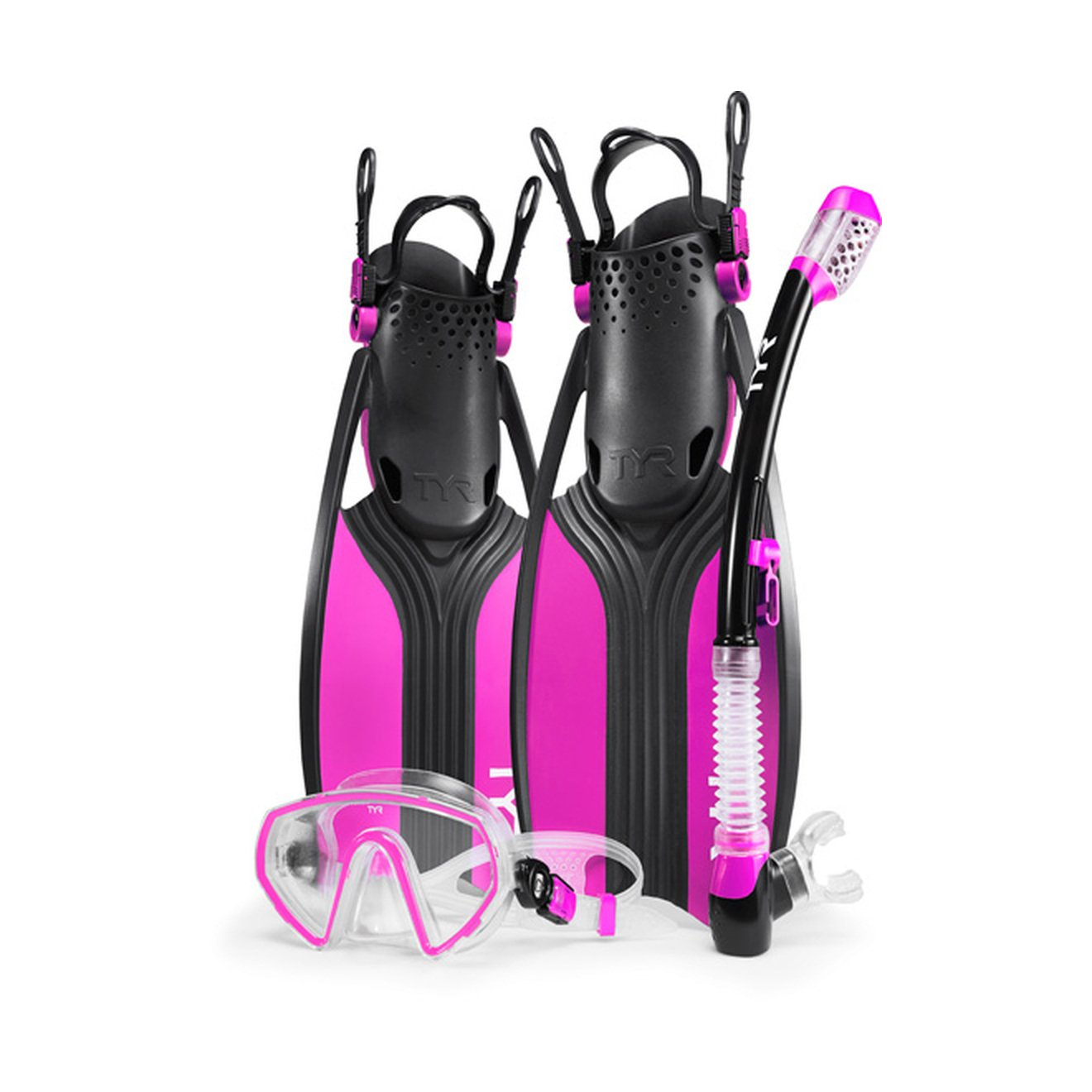 TYR Voyager Mask Snorkel Fin, Pink/Black, Medium by TYR