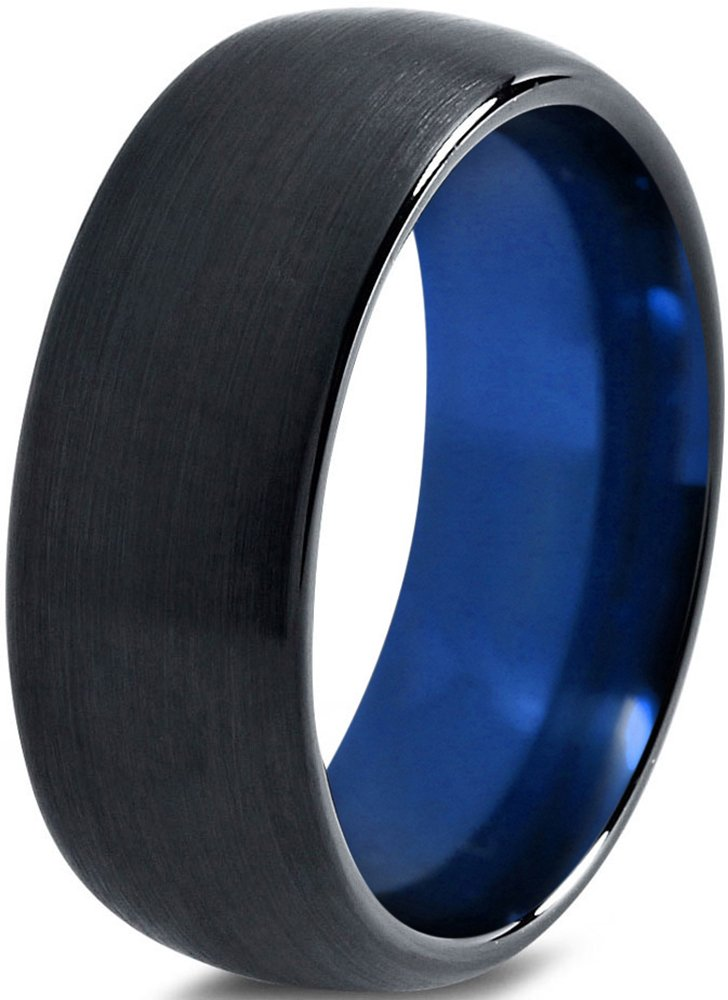 Tungsten Wedding Band Ring 8mm for Men Women Blue Black Domed Brushed Polished Size 8.5