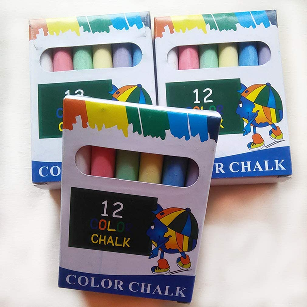 Makya 24 Pieces Outdoor 6 Colors Chalk Set Washable Art Play for Kid and Adult Paint on School Classroom Chalkboard 2 Pack Playground