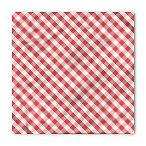 Ambesonne Unisex Bandana, Checkered Retro Red Squares, Coral Pink from Ambesonne