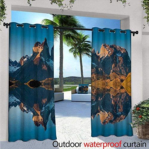 - Nature Indoor/Outdoor Single Panel Print Window Curtain W72 x L108 Majestic Rocky Mountains with Reflections on The Lake Creek Idyllic Landscape Silver Grommet Top Drape Blue and Brown
