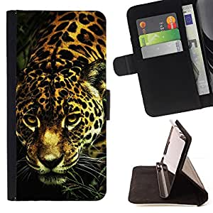 Leopard Cheetah Big Cat Pattern Fur Animal - Painting Art Smile Face Style Design PU Leather Flip Stand Case Cover FOR Samsung Galaxy S4 Mini i9190 @ The Smurfs