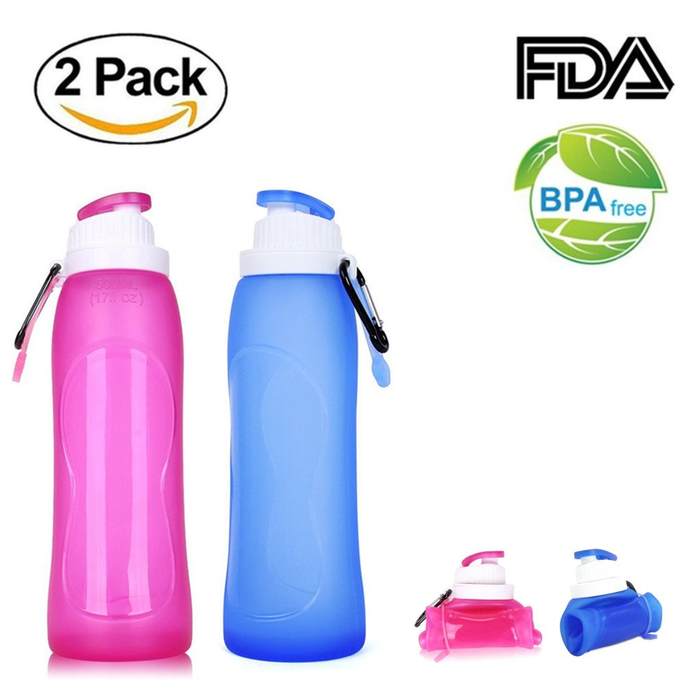 Junxave Unbreakable Silicone Collapsible Water Bottle with Filter, 500ML/17oz BPA Free Foldable Squeeze for Sports Travel Cycling Camping Hiking (Blue+Pink) by Junxave