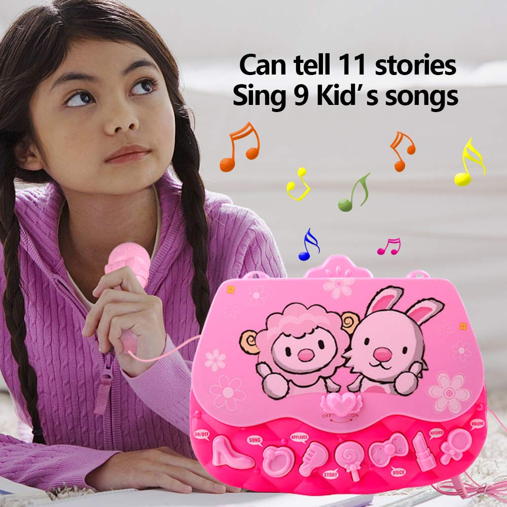 ALANGDUO Karaoke Machine Toys for Girls, Kids Microphone Musical Machine Connect MP3 Cellphone Shoulder Bag Flashing Lights Karaoke Player Singing Toys for Girls Children Kids Gift Age 3 + (Pink) by ALANGDUO (Image #3)