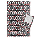 Roostery Trendy Arrows Technology Geek Red Black Nerd Tea Towels Geek Chic Spirit by Chicca Besso Set of 2 Linen Cotton Tea Towels