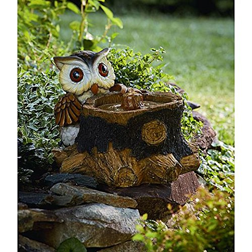 15 Inch Owl Fountain with Solar LED Lights by Garden Essentials