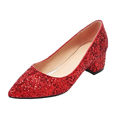 129e829d384 Agodor Womens Mid Block Heel Wedding Glitter Court Shoes Pointed Toe  Elegant Bride Summer Pumps Red