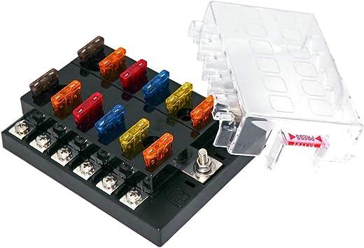 8 Way Blade Fuse Box Block Holder LED Indicator 32V Car Marine ATO ATC Circuit