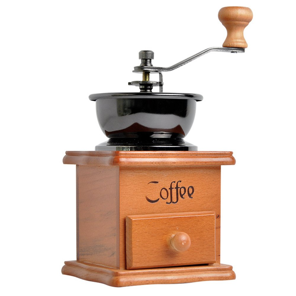 Manual Coffee Grinder Artisanal Hand Crank Coffee Mill With Grind Settings & Catch Drawer 9.5 x 9.5 x 17 cm