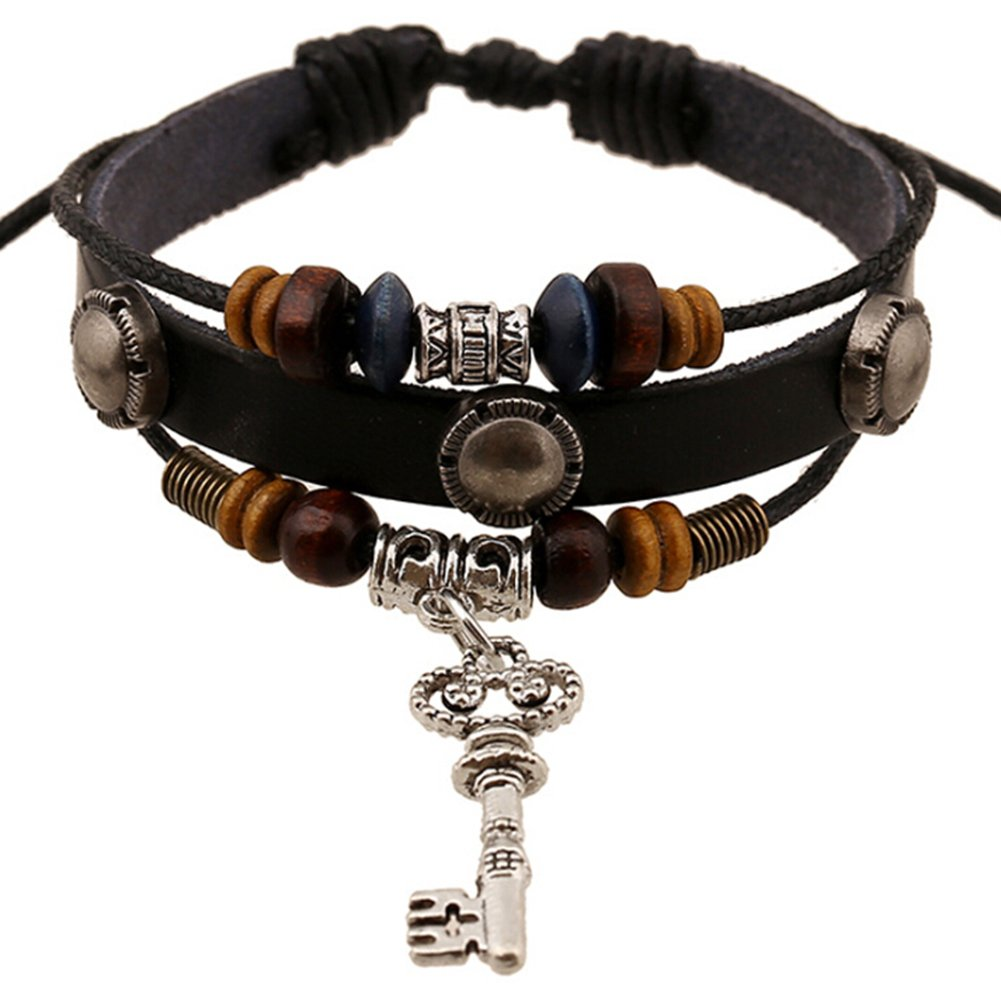 TEMEGO Jewelry Mens Womens Alloy Genuine Leather Surfer Wrap Bracelet, Vintage Beads Key of Love Charm Cuff Bracelet, Adjustable Fits 7-12 Inch, Black Brown Silver