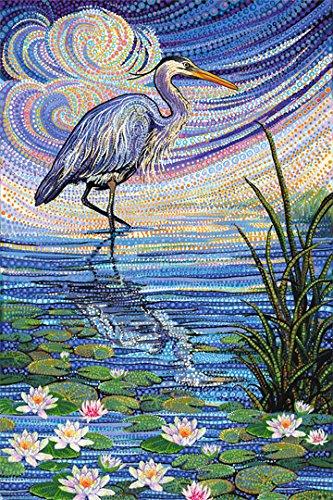 Artisan Spirit Water Garden Blue Heron Panel 28X44 Northcott Cotton Fabric DP21916-44