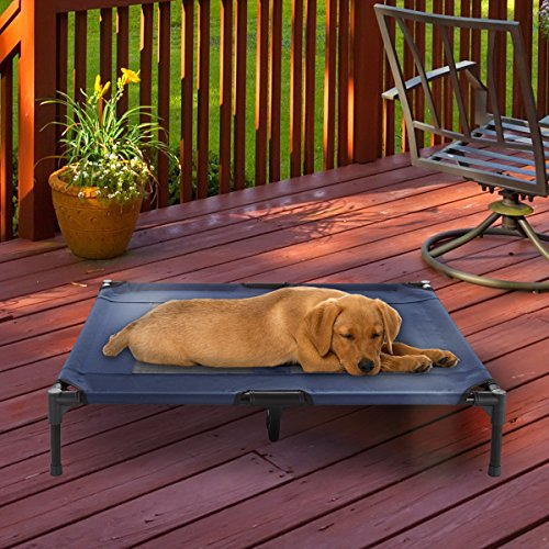 """Elevated Pet Bed-Portable Raised Cot-Style Bed W/ Non-Slip Feet, 36""""x 29.75""""x 7"""" for Dogs, Cats, and Small Pets-Indoor/Outdoor Use by Petmaker (Blue)"""