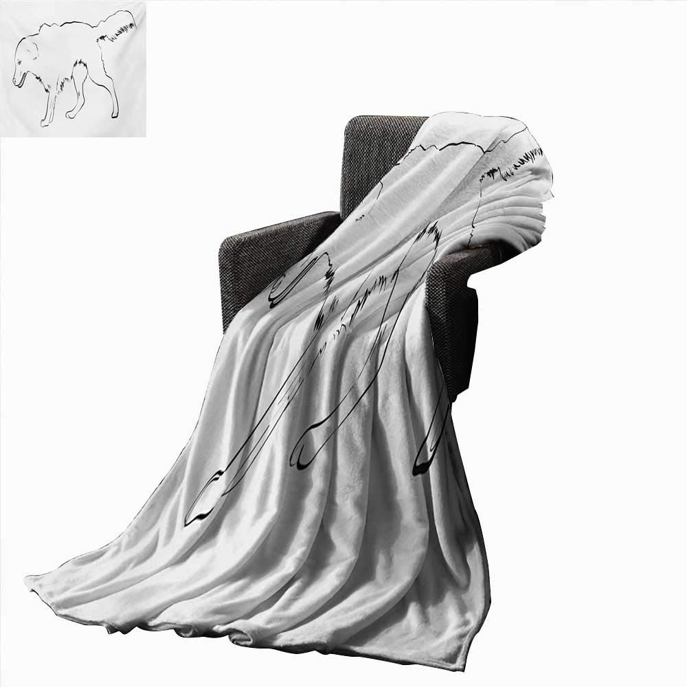 color06 L 60\ color06 L 60\ Anyangeight golden Retriever Weave Pattern Extra Long Blanket Sketch Art Outline of a Dog Thgoldughbred Furry Canine Pet Animal,Super Soft and Comfortable,Suitable for Sofas,Chairs,beds