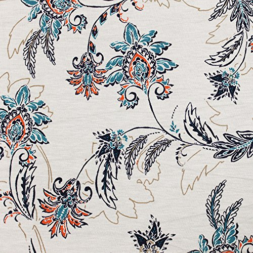 Mulit Color Floral Print Floral Damask on Rayon Spandex Jersey Knit Fabric by the Yard and Swatch Sample (Sample Swatch, Off White and - Spandex Floral Jersey