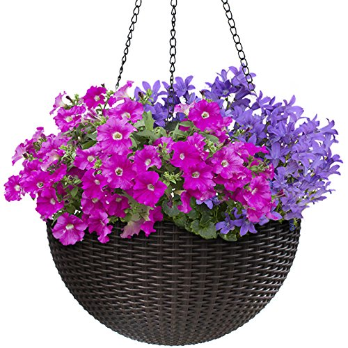 Sorbus Hanging Planter Round Self-Watering Basket, Resin Woven Wicker Style Flower Pot, Indoor/Outdoor Great for Home, Garden, Patio - Espresso Brown (Large)