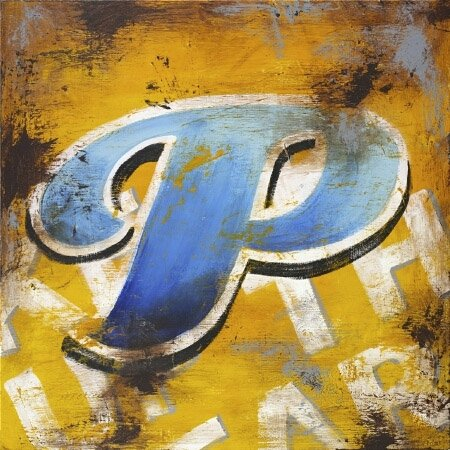 36W x 36H Letter P by Rodney White - Stretched Canvas w/ BRUSHSTROKES
