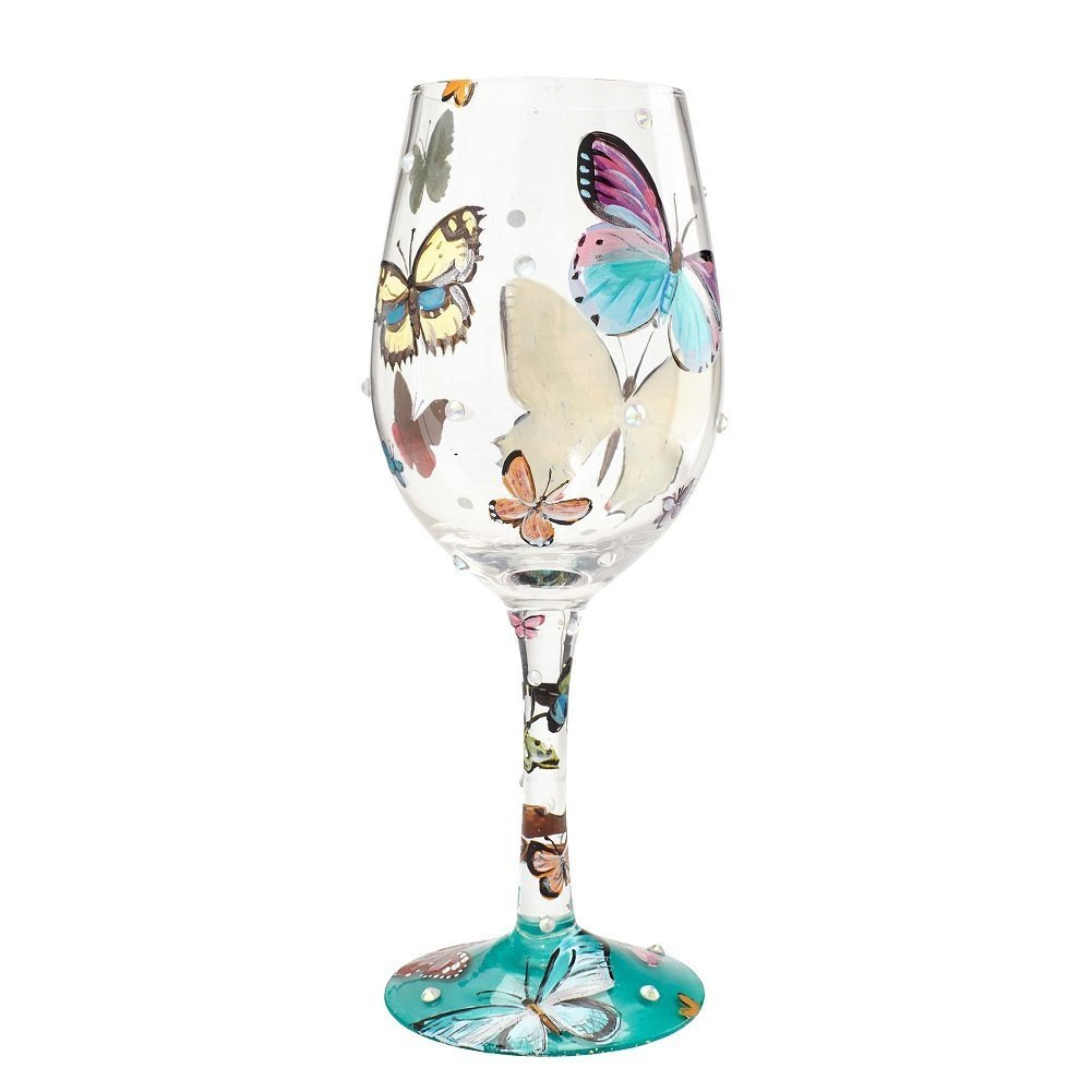 15 oz Lolita Glassware 4053099/_4056858 Lolita Wine Glasses Set of Dragonfly and Butterfly Wishes
