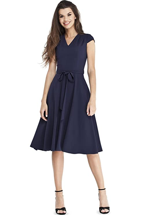 Review VILONNA Women's Elegant Short Cap Sleeves V Neck Belted Midi Cocktail Party Work Dress with Pockets