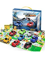 lenbest 8 Pcs Friction véhicules Coffret, 10 Panneaux de signalisation routière, Jouet pour Enfant de Petites Voitures Miniatures Voiture