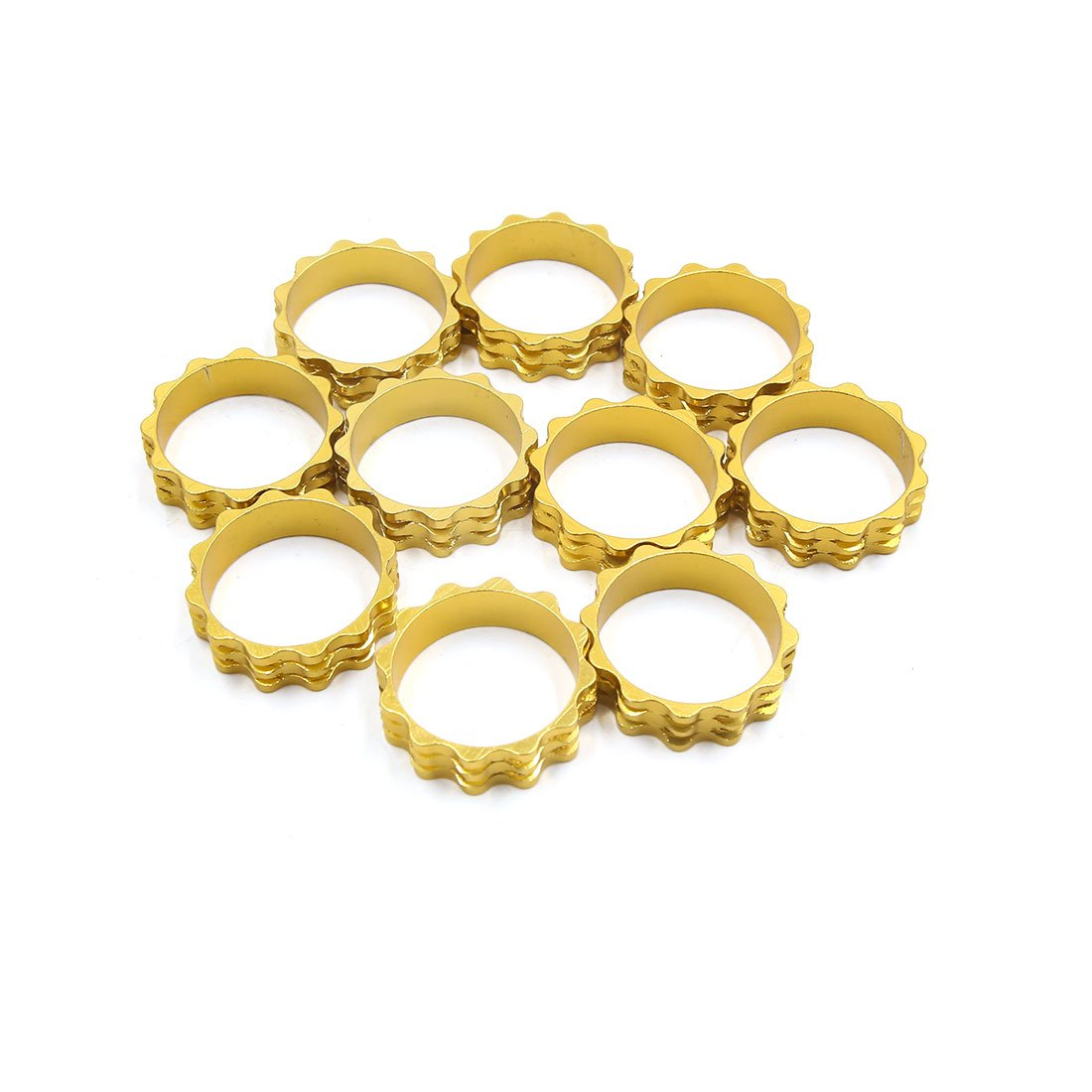 Sourcingmap 10 Pcs 28.6 x 10mm Gold Tone Headset Spacer Fork Stem Washer for MTB Bike Bicycle
