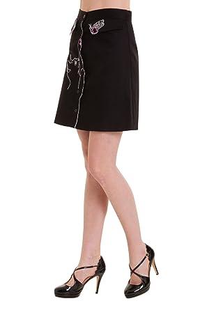 de7c1e1e1c1564 Banned Meow Vintage Retro Damen Rock - Weiß oder Schwarz - Black/UK ...