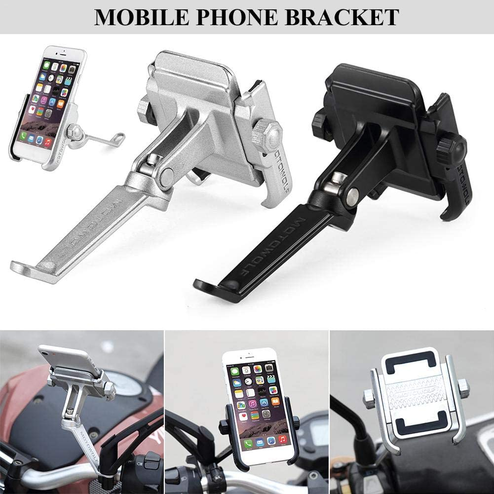 Aluminum Alloy Motorcycle Phone Mount Anti Shake Metal Bike Phone Holder Rosymity Mobile Phone Holder Stand for Bicycles and Motorcycles Adjustable Universal Fit 4-6.6 inches Phones refined