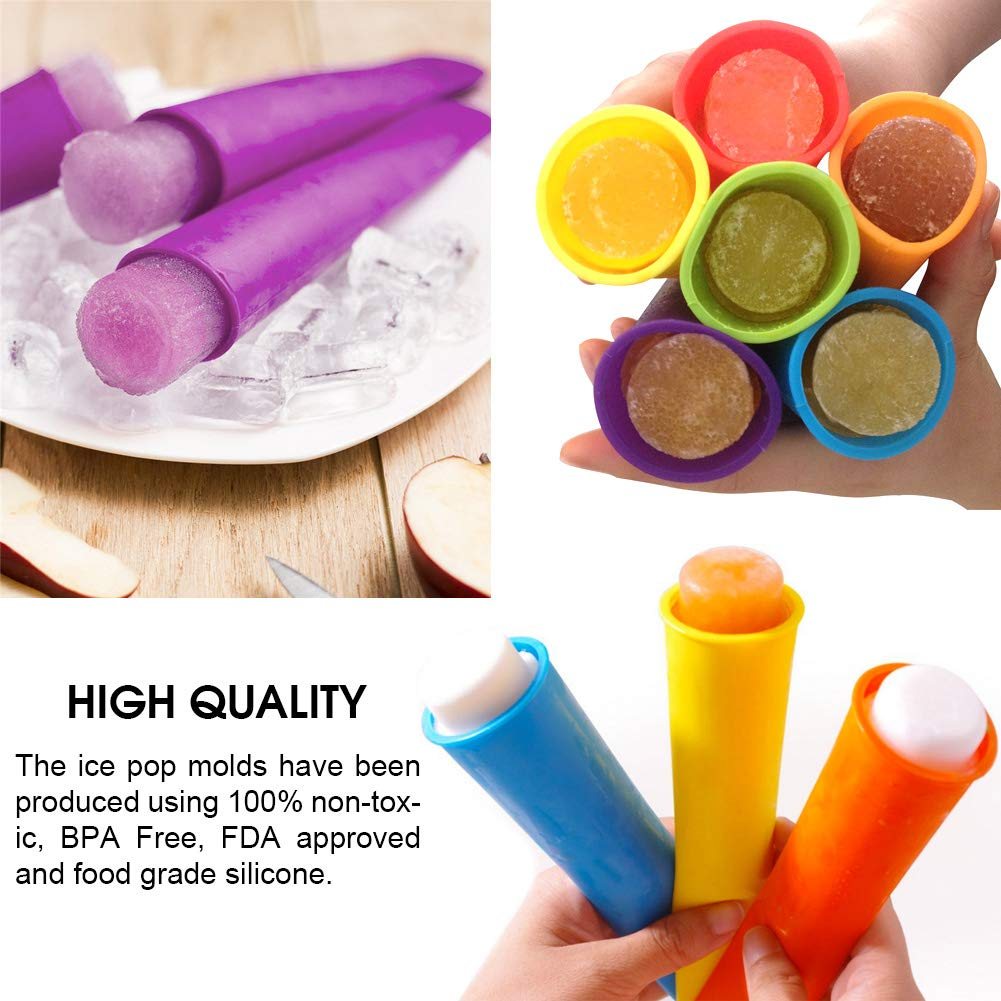 Ouddy Silicone Ice Pop Molds with Lids Set of 8 Multi Colors Popsicle Molds