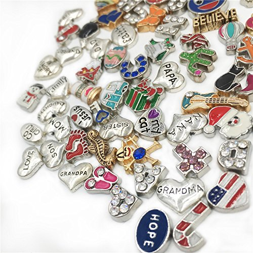 Metal Floating Charms Lot for DIY Glass Living Memory Locket Silver Gold Color Mixed Style (100Pcs)