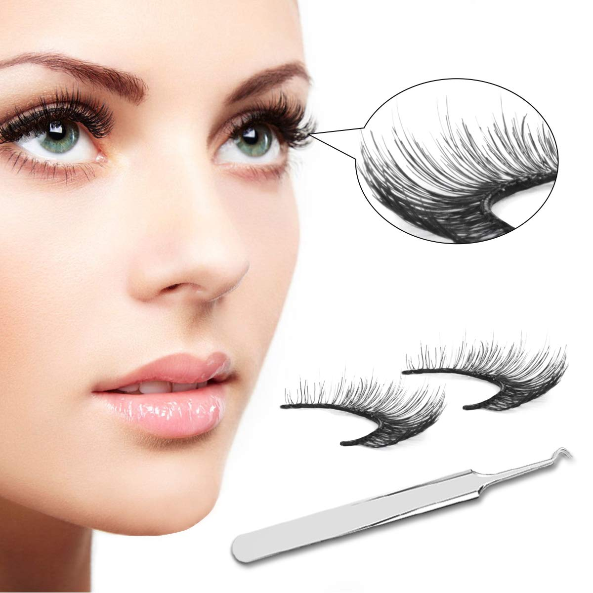 bb85aafbb75 Amazon.com : Self-Adhesive False Eyelashes Pack,FYPO Glue-free Fake  Eyelashes Set with Tape for Women, 3D Eyelashes Extension with Remover Clip  Tweezers ...