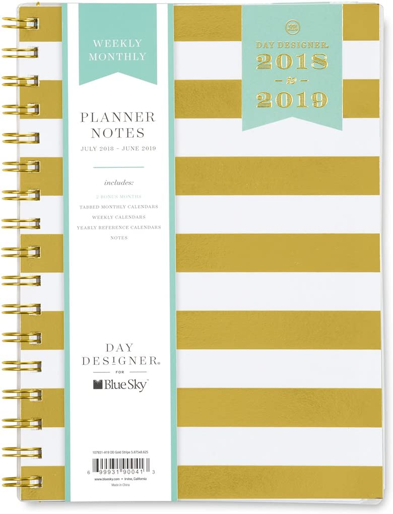 Day Designer for Blue Sky 2018-2019 Academic Year Weekly & Monthly Planner, Flexible Cover, Twin-Wire Binding, 5.8
