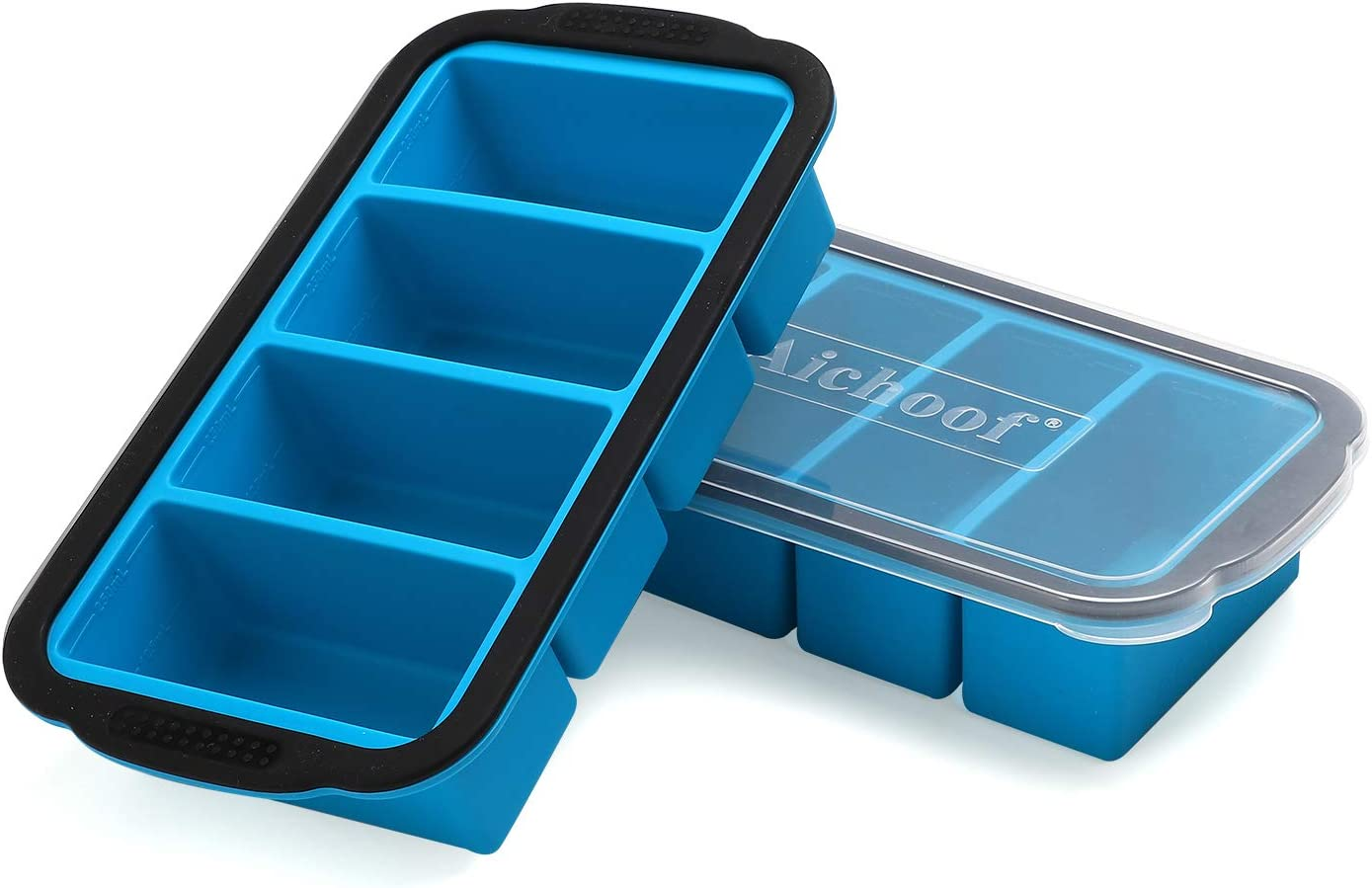 1-Cup Extra Large Freezing Tray for soup,broth,sauce or butter ,Ice Cube Trays with lid, Silicone Freezer Container Molds Soup Trays -makes four great portions 1cup Cube-2 pack(Blue)
