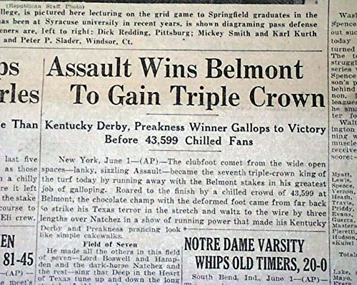 BELMONT STAKES Horse Racing Win ASSAULT Triple Crown Winner 1946 Old Newspaper THE SPRINGFIELD UNION,...