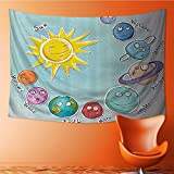 Wall Hanging 2118D Printing TapestryCarto Sun and Planets of Solar System Fun Celestial Chart Baby Kids Nursery Theme Wall Tapestry for Dorm Living Room Bedroom(59W x 51.1L INCH)