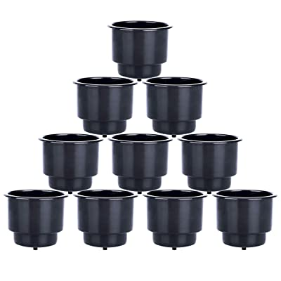 Amarine Made Recessed Plastic Cup Drink Can Holder with Drain Hole for Boat Truck Car Table Black (10): Automotive