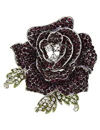 Ever Faith Beautiful Rose Flower Brooch Austrian Crystal Red AB Gold-Tone A04951-1