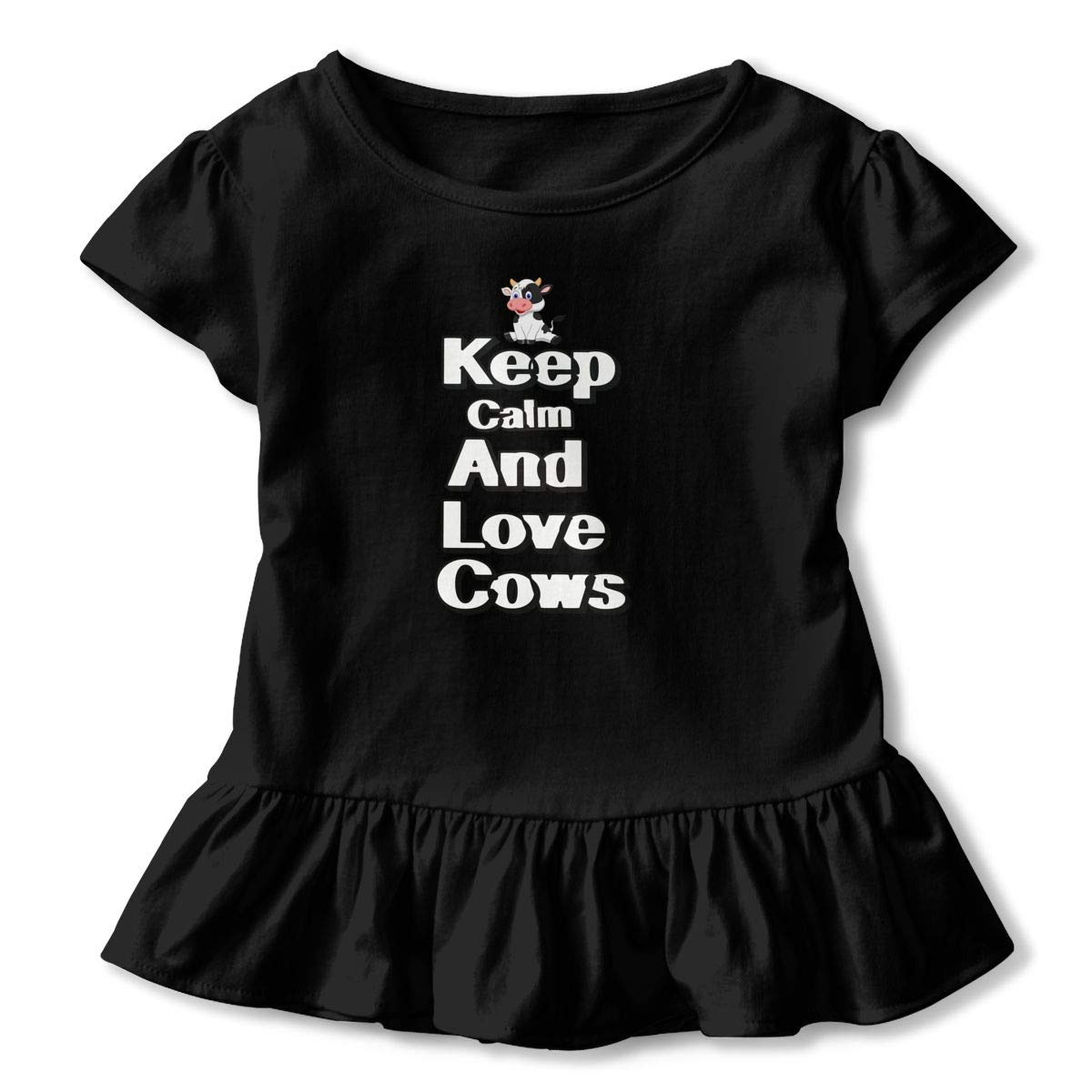 Keep Calm and Love Cow Toddler Baby Girls Short Sleeve Ruffle T-Shirt