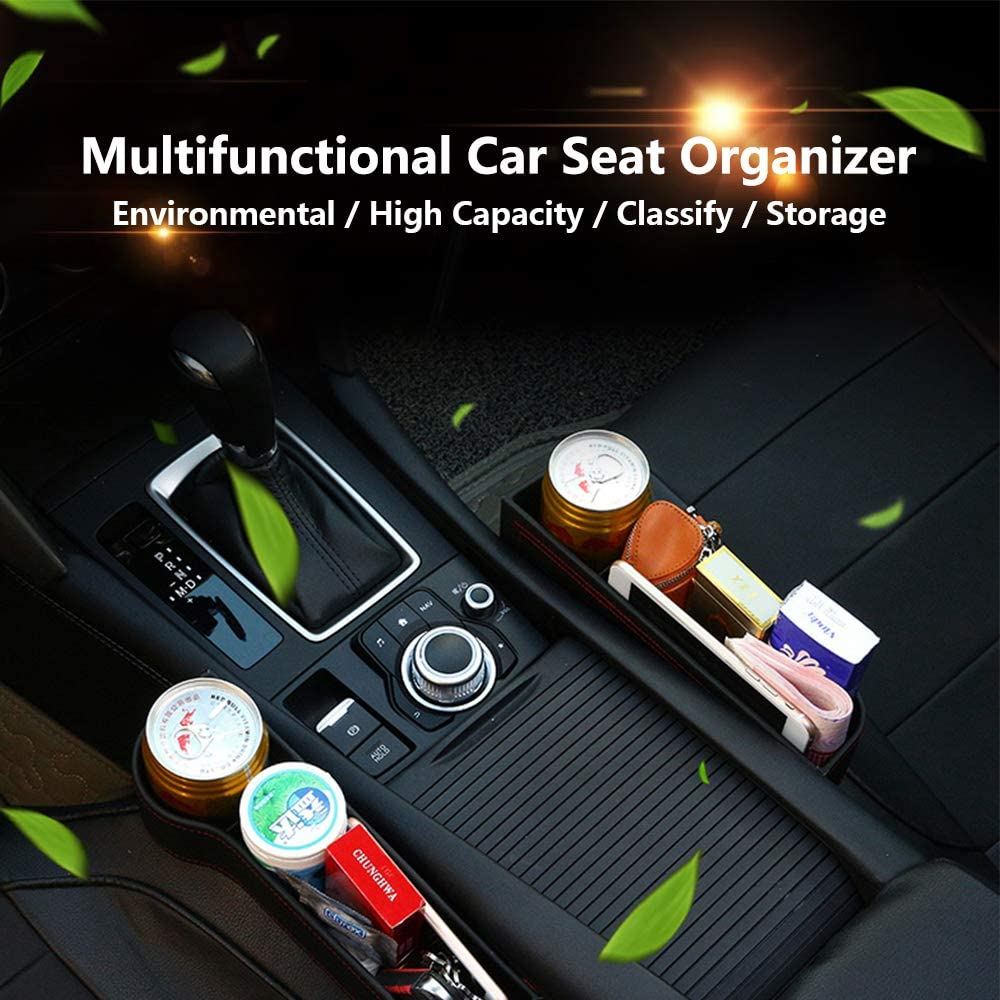Fit for Most Cars Storage Box Multifunctional with Cup Holder Black, Driver Seat Car Seat Gap Organizer