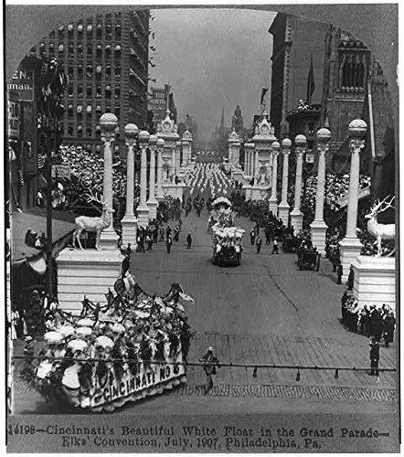 Photo: Cincinnati's Beautiful White Float,Grand Parade,Elk Convention,1907,Philadelphia