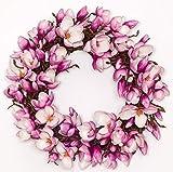 Fuchsia Magnolia Wreath 24'' -Spring Wreath, Summer Wreath, Everyday Wreath