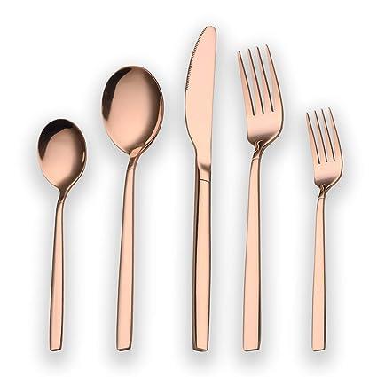 Berglander 30 piezas de titanio rosa chapado en oro cubiertos juego, 30 piezas de cobre