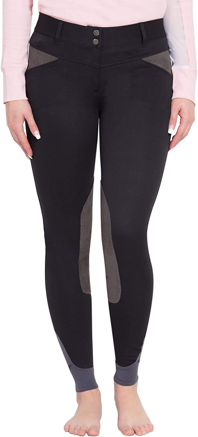 TuffRider Womens Sydney Knee Patch Breeches with Contoured Sock Bottom