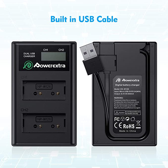 Amazon.com: Powerextra - Cargador de batería doble USB con ...
