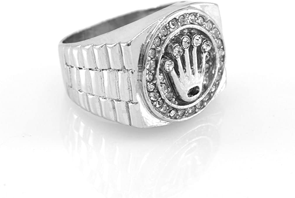 Hip-Hop Silver Tone King Crown Ring size 9
