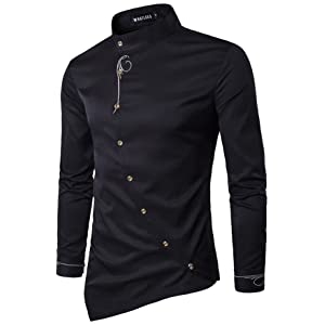 (ワトリズ)Whatlees メンズ 長袖シャツ ブラック 斜めボタン 欧米風 カジュアル シャツB404-Black-XL