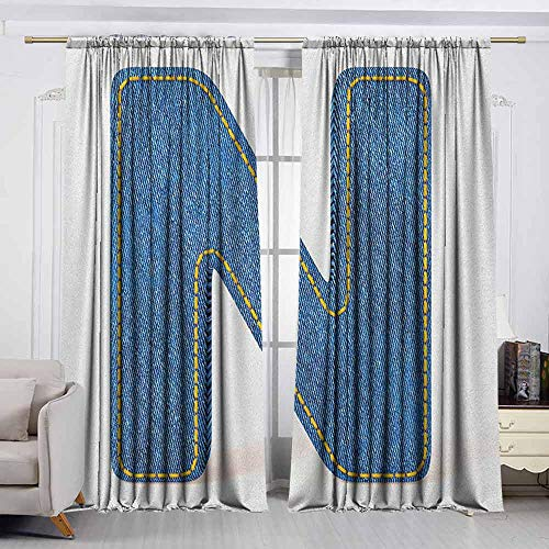 VIVIDX Outdoor Curtains,Letter N,N Uppercase Letter with Denim Alphabet Font Design Blue Jean Writing System Retro,Room Darkening, Noise Reducing,W55x39L Inches Blue Yellow Crinkled Wash Denim Jeans